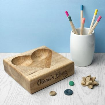 Personalised Solid Oak Trinket Dish
